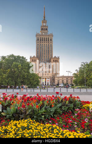 Palace of Culture and Science Building in Warsaw City - Stock Photo