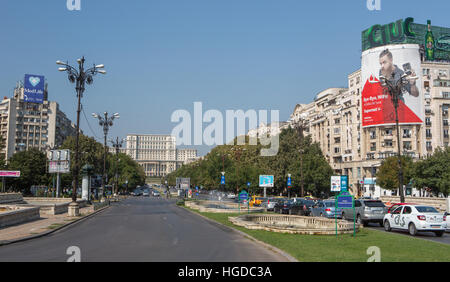 Romania, Bucharest City, Unirii Boulevard and Parliament building - Stock Photo