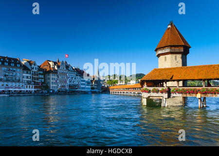 Old Town of Lucerne city, Switzerland - Stock Photo