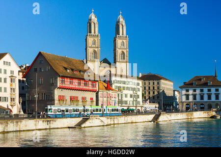 Grossmünster church in Zurich city, Switzerland - Stock Photo