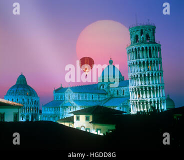 Leaning Tower and the Duomo at sunset, Pisa, Tuscany, Italy - Stock Photo