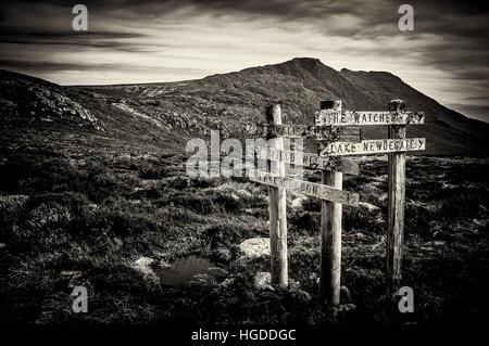 Sign Posts at Mt Field, Tasmania, Australia - Stock Photo