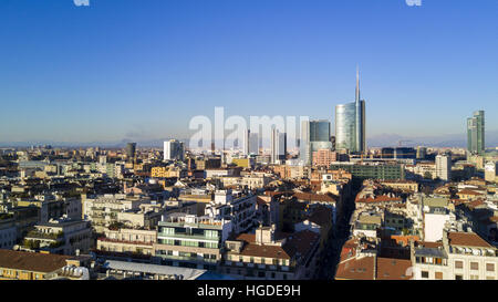 Aerial view of the center of Milan, panoramic view of the Unicredit tower, Milan, Porta Nuova residences and skyscrapers, - Stock Photo