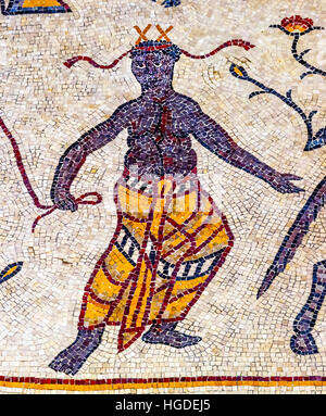 Ancient 6th Century People Mosaic Memorial Church Moses Mount Nebo Jordan.  Mount Nebo where Moses saw the holy - Stock Photo