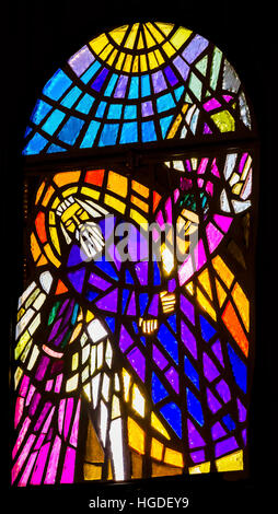 Moses Dead Angels Stained Glass Memorial Church Moses Mount Nebo Jordan.  Mount Nebo where Moses saw the holy land - Stock Photo