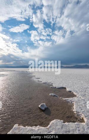 Utah, Wendover, Bonneville Salt Flats, - Stock Photo