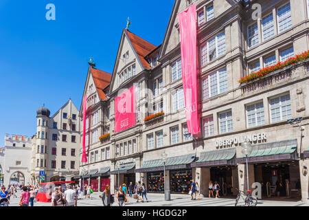 Germany, Bavaria, Munich, Neuhauser Strasse Shopping Street - Stock Photo