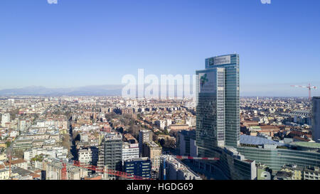 Aerial view of Palazzo Lombardia, Milan, Italy. the Lombardy region skyscraper, the square city of Lombardy - Stock Photo