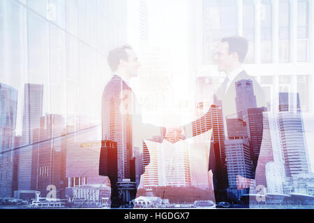 business deal, handshake double exposure, cooperation concept, agreement of two companies - Stock Photo