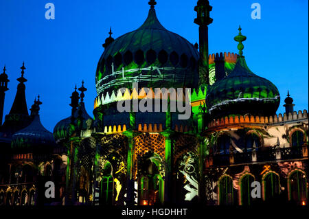 Royal Pavilion, Dr Blighty show, Brighton festival, 2016: images of WW1 projected onto the Royal Pavilion for Dr. - Stock Photo