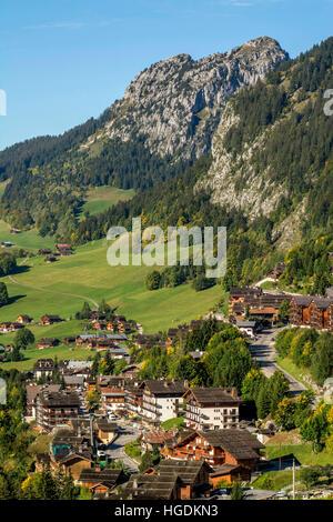 Le Chinaillon, Le Grand Bornand ski resort, departement Haute-Savoie, Auvergne-Rhone-Alpes, France - Stock Photo