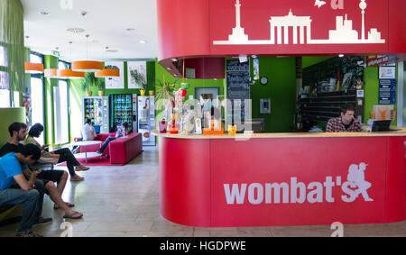 Reception Wombats City Hostel Berlin Germany - Stock Photo