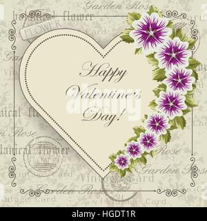 Happy Valentines Day lettering greeting card with flowers. Vintage postcard background. Vector illustration. - Stock Photo