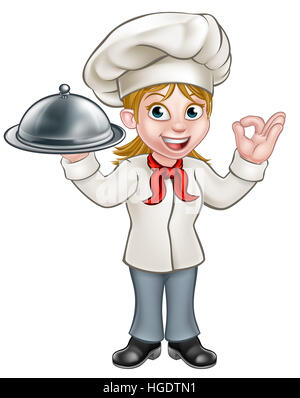 Cartoon woman chef or baker holding a silver cloche food meal plate platter and giving a perfect okay delicious - Stock Photo