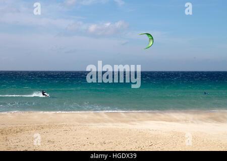 Kitesurfing ocean wave sea Tarifa, Cadiz Province, Costa de la Luz, Andalusia, southern Spain. - Stock Photo