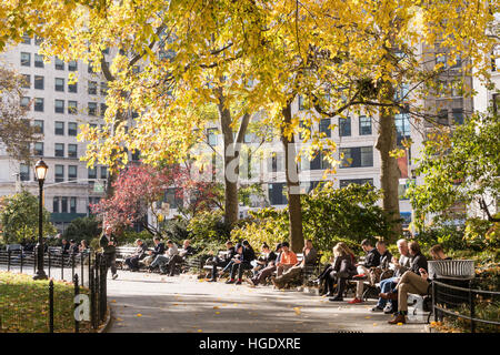 People Enjoying a Beautiful Fall Day in Madison Square Park, NYC, USA - Stock Photo
