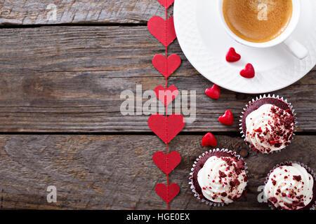 Red velvet cupcakes for Valentines day - Stock Photo