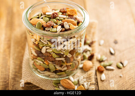 Dried fruit and nuts trail mix - Stock Photo