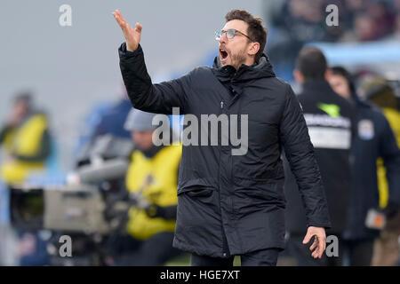Reggio nell'Emilia, Italy. 8th Jan, 2017. Eusebio Di Francesco, head coach of US Sassuolo, gestures during the Serie - Stock Photo