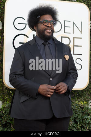 Beverly Hills, California, USA. 8th Jan, 2017. Questlove. 74th Annual Golden Globe Awards held at the Beverly Hilton. - Stock Photo