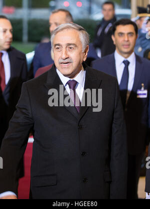 Geneva. 9th Jan, 2017. Turkish Cypriot leader Mustafa Akinci arrives for the reunification negotiations in Geneva, - Stock Photo