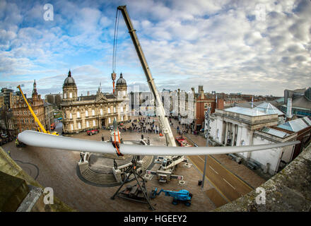 Art work 'Blade', A 250ft-long (75m) wind turbine, commissioned by multimedia artist Nayan Kulkarni and created - Stock Photo