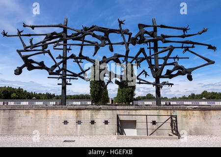 Memorial at Dachau concentration camp. The first of the Nazi concentration camps opened in Germany. - Stock Photo