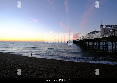 Brighton Palace Pier Sunrise East Sussex - Stock Photo