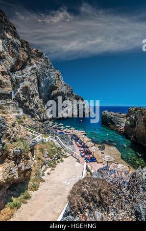Calypso bay on Crete Island, Greece. Kalypso, Karavos beach is know as The Pirates Fjord - Stock Photo