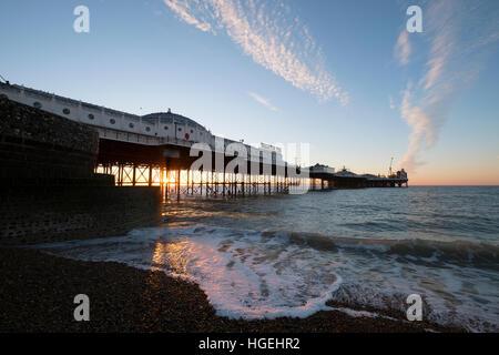 Brighton Palace Pier Sunrise East Sussex - Stock Photo