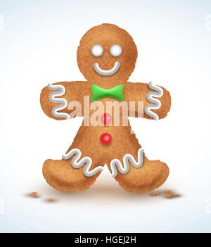 Gingerbread man decorated colored icing. Holiday cookie in shape of . Qualitative vector illustration for new year - Stock Photo