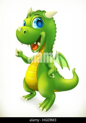 Little Dragon cartoon character. Funny animals 3d vector icon - Stock Photo