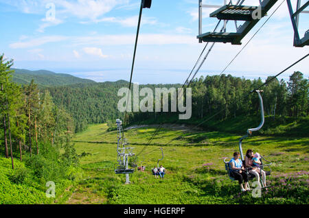 Ski lifts for summer used - Stock Photo