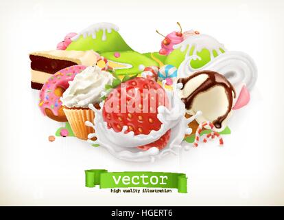 Sweet shop. Confectionery and desserts, Strawberry and milk, ice cream, whipped cream, cake, cupcake, candy. 3d - Stock Photo