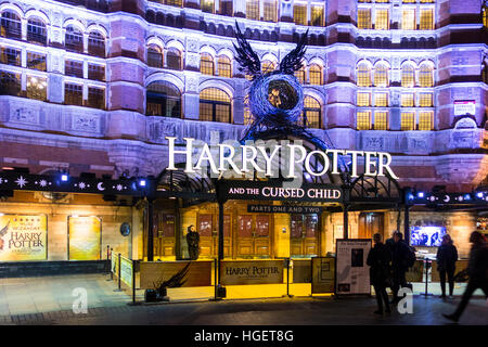 Harry Potter and the Cursed Child show sign outside the Palace Theatre, Shaftsbury Avenue, London, UK - Stock Photo