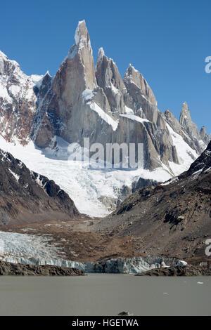Laguna Torre with view of Cerro Torre, El Chalten, Patagonia, Argentina, South America - Stock Photo