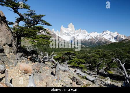 View of Mount Fitz Roy on Laguna de Los Tres trail, El Chalten, Patagonia, Argentina, South America - Stock Photo