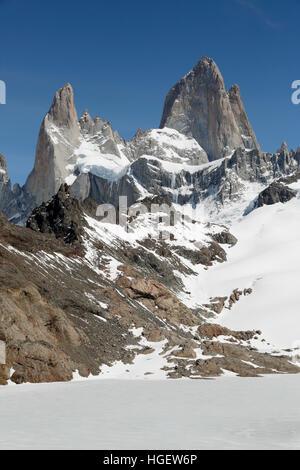 Laguna de los Tres and Mount Fitz Roy, El Chalten, Patagonia, Argentina, South America - Stock Photo