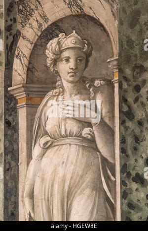 Rome. Italy. Villa Farnesina. La Sala delle Prospettive (Hall of Perspectives), frescoes by Baldassare Peruzzi, - Stock Photo