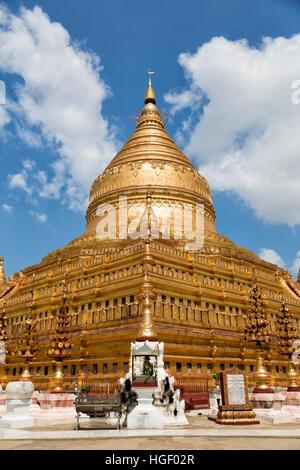 Shwezigon Pagoda , Bagan in Myanmar (Burma) Asia - Stock Photo