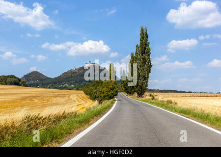 Summer landscape and road leading to the Bohemian Gothic castle Bezdez, Czech Republic - Stock Photo
