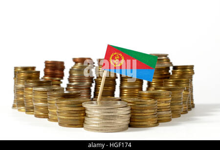 Eritrea flag waving with stack of money coins - Stock Photo