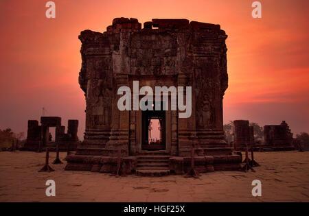 Sunset at Angkor Wat, Cambodia - Stock Photo