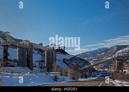 Somerset, Colorado - The coal loading facility at Arch Coal's West Elk Mine. Other mines in the area have closed. - Stock Photo