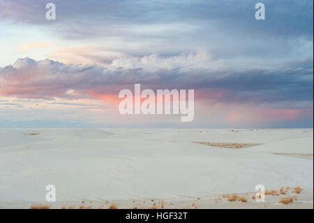 Sunrise at White Sands National Monument, White Sands National Park, New Mexico, NM, USA. Stock Photo