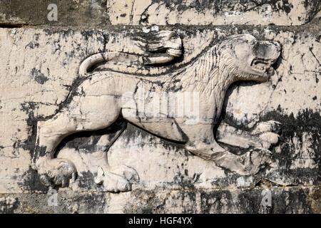 Relief of a lion on ruins of St. Nicholas Monastery Church, Mesopotam, Vlora, Albania - Stock Photo