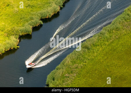 Aerial view, motor boat on Peene River, Mecklenburg Lake Plateau, Mecklenburg-Western Pomerania, Germany - Stock Photo