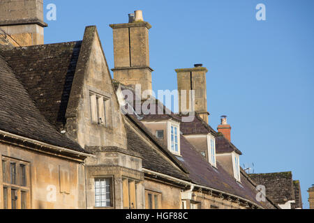 historic architecture in the market town of Chipping Campden, Cotswolds,Gloucestershire,England - Stock Photo