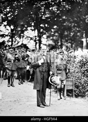 1919 Winston Churchill with Field Marshall Sir Henry Wilson during an Army Council visit to the Rhine - Stock Photo