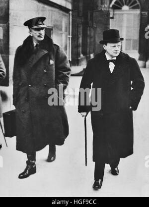 Winston Churchill with Field Marshall Sir Henry Wilson, Chief of Imperial General Staff. 1919 - Stock Photo